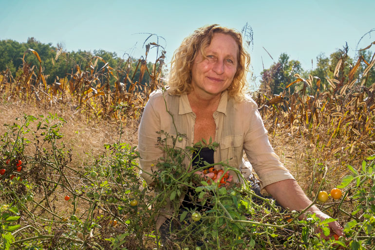 Seed farmer reflects on pandemic: woman with curly, shoulder length hair looks at the camera with a small smile. She is crouched in a field with one hand full of small tomatoes and the other hand picking a tomato off of the plant in front of her.